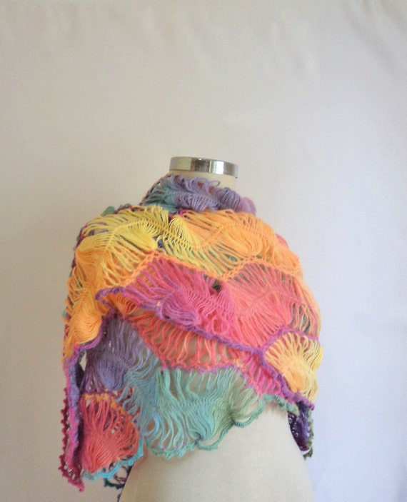 RESERVED for (Sheri) Rainbow Shawl Multicolor mother nekcwarmer wrap wram ,handmade,lace,scarf,collar,cowl,stole,necklace,romantic