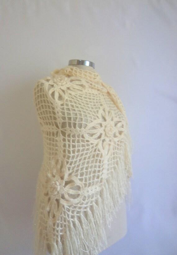 SALE--Bride White Shiny  Rope  Triangle Romantic otantic fashionShawl ready for ship