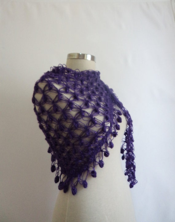 Purple Shawl Scarf bolero stole cowl warm neckalce handmade crcohet knitting new,gift,collar,cowl,wrap,warm