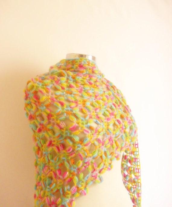 Reserved [ Maria Vittoria Apicella ] CROCHET Rainbow Shawl Multicolor   wedding,bride, gift