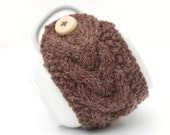 Brown Earthy Fleck Aran Hand Knit Mug Warmer or Cup Cosy Cozy. Natural Forest Wood Shade. Mens Gents Valentines Gift