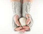 Grey Aran Mens Arm Warmer Gloves with Cable Design Stone Gray Slate Shade. Gents Manly Male Rugged