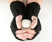 Black Hand Knit Aran Mens Arm Warmer Gloves with Cable Design Gents Manly Male Rugged Gift