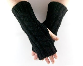 Black Hand Knit Aran Arm Warmer Gloves with Cable Design
