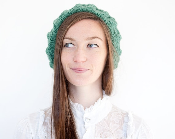 Knitted Beret with Cable Design in Emerald Green. Hand Knit Wooly Winter Slouchy Ladies Womens Cap.