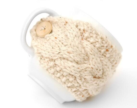 Cream & Beige Fleck Aran Hand Knit Mug Warmer or Cup Cosy