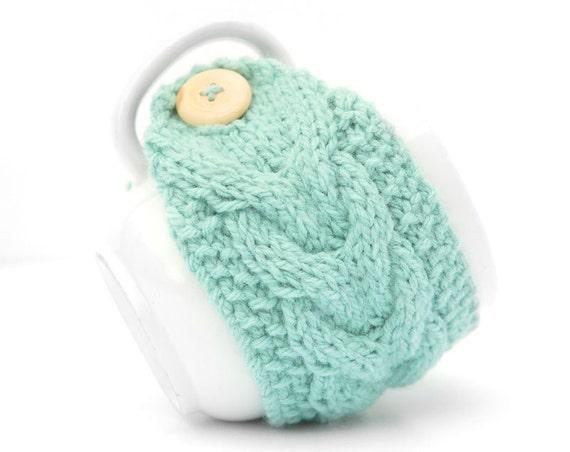 Aqua Mint Aran Hand Knit Mug Warmer or Cup Cosy Cozy. Bubblegum Duck Egg Blue Teal Turquoise Girly Feminine Sherbet