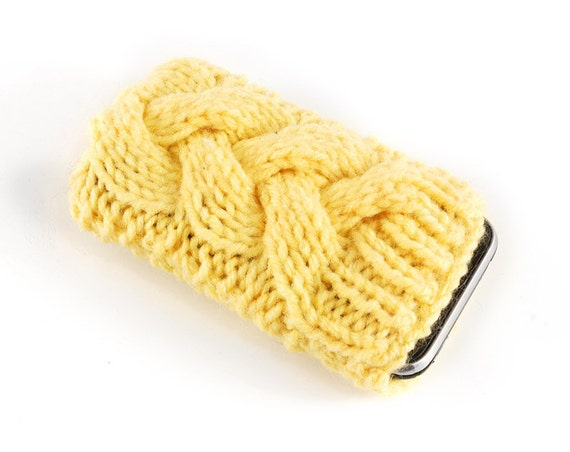 Knitted iPhone Cover. Handknit Phone Cozy with Cable in Sunny Yellow Shade. Knitted iTouch Mp3 iPod Case Cosy