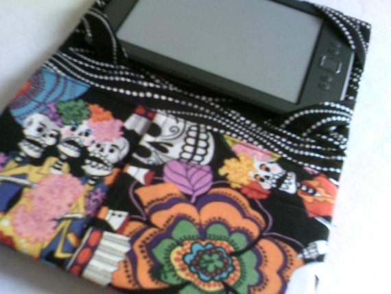 Kindle Cover for basic-size Kindle, whimisical skeleton funky peace hippy metal