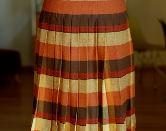 orangey plaid pleated wool skirt
