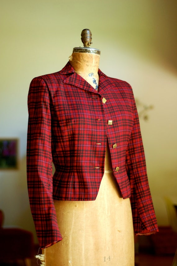 red plaid jacket