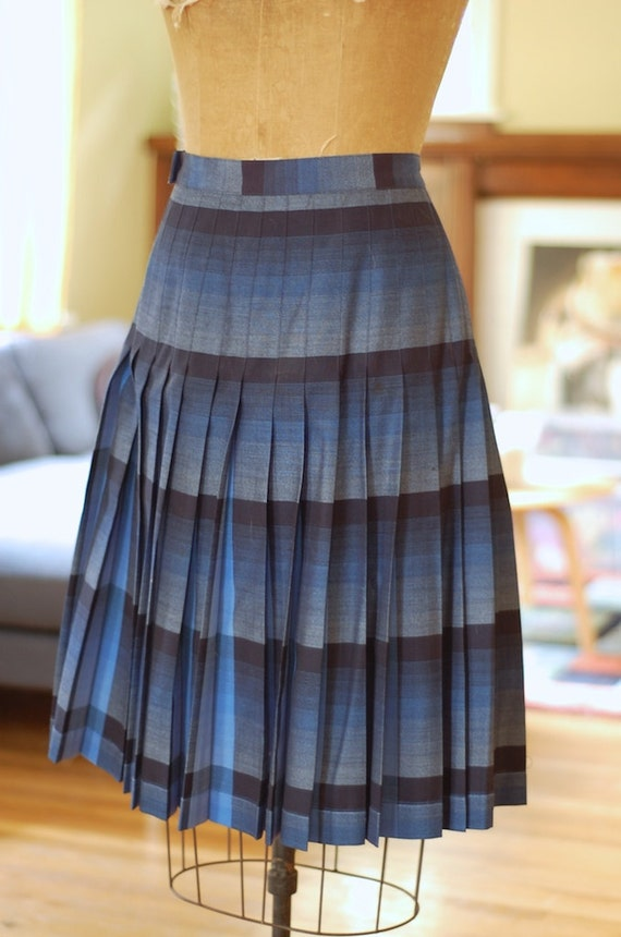 blue plaid reversible skirt