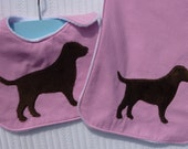 Furry Chocolate Lab on Pink Pinstripe Infant Bib and Burb Cloth Gift Set