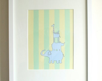 Stripped Animal Tower Print for Boys