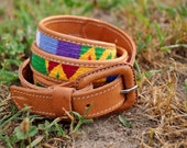Brown Leather Belt With Rainbow Woven Stitching And Single Tongue Clasp - Size 36