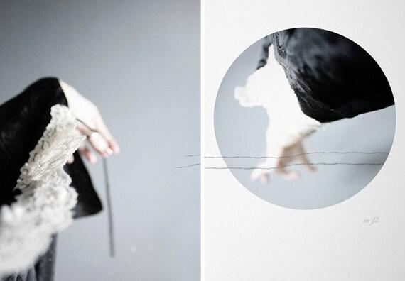 black thread, diptych -5x7 prints
