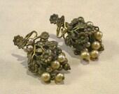 Vintage Victorian Patina Steampunk Earrings Antique Art Nouveau Grarpe & Leaf Screw Back