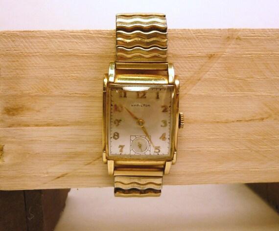 40s SHERMAN Hamilton mans wrist watch 14k gold filled  nice original condition