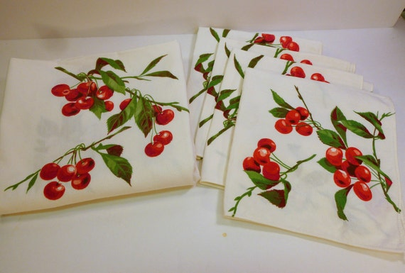 cherries jubilee - fab 50s cotton tablecloth and maching napkins cherry decorated