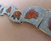 Vintage Silver, Rough Cut Turquoise & Copper Bracelet