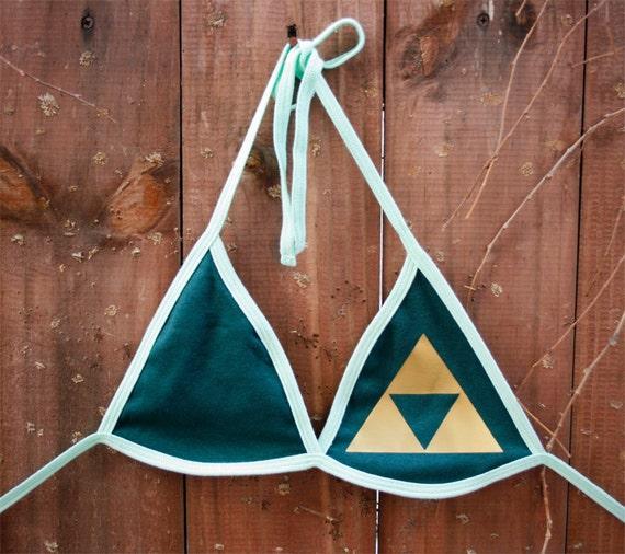 LAST ONE - Triforce from Legend of Zelda Cotton Bra/Bikini Top - Size 2
