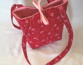 Purse, Heart Purse, Small Tote Bag, Cloth Purse, Red, Pink, Hearts, Swirls, Fabric Bag, Handmade Handbag, Shoulder Bag