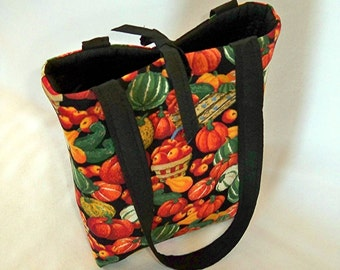 Thanksgiving Purse, Small Tote Bag, Handmade Handbag, Fabric Bag, Pumpkin, Apples, Cloth Purse, Shoulder Bag