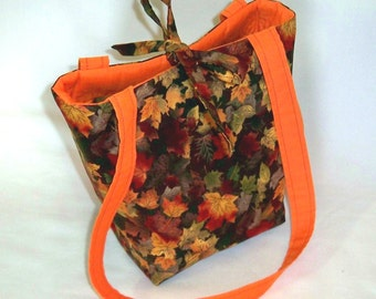 Purse, Fall Leaves, Thanksgiving Bag, Small Tote Bag, Handmade Handbag, Cloth Purse, Autumn, Fabric Bag, Orange, Teen Purse, Shoulder Bag