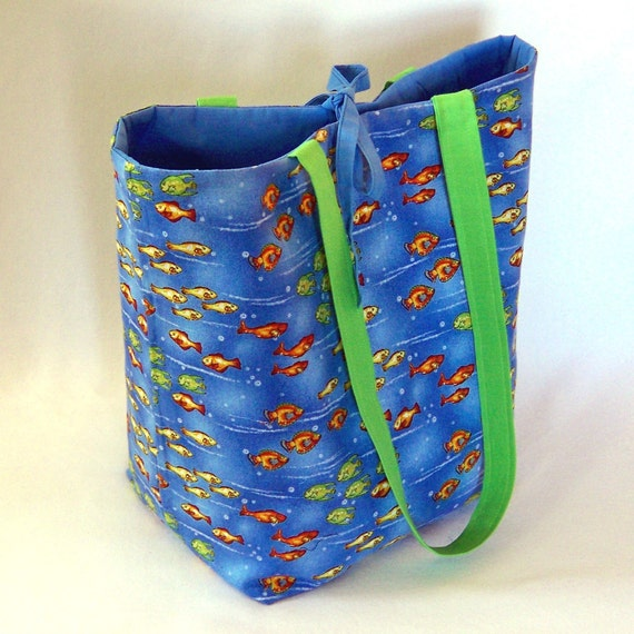 Tote Bag, Blue Cloth Purse, Handmade Handbag, Fabric Bag, Tropical Fish, Goldfish, Shoulder Bag, Water, Ocean
