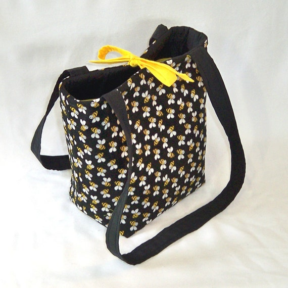 Bee Tote Bag Purse Black Yellow Bumble Bee Fabric Handbag Small Tote Bag Teen Purse Shoulder Bag