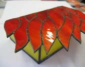 Orange Flames Stained Glass Box