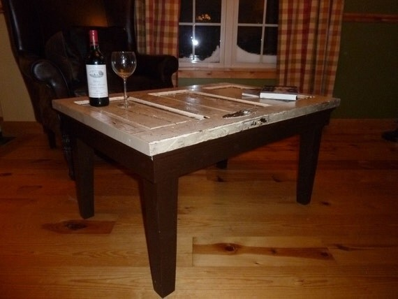 Old door turned into coffee table for Old door into coffee table