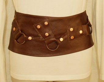 Beautiful Brown Leather Belt with Copper Accents