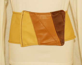 "Yellow Leather Belt with Patchwork ""Buckle"""