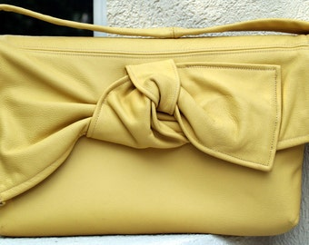 Yellow Leather Shoulder Bag with Twisted Bow
