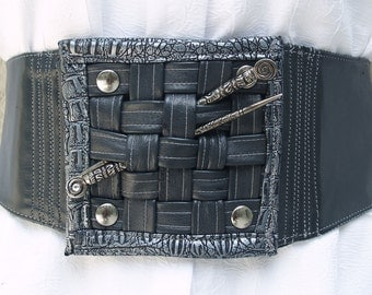 GunMetal Lambskin Leather Belt with Signature Basketweave Closure