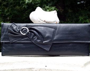 Long Lean Charcoal Gray/Off Black Envelope/Clutch Handbag with Gunmetal Accent