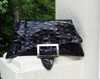Black Leather Croc Clutch Handbag - The Trapezoid
