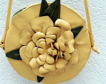 Sale 125.00 - Yellow Leather Handbag - The Floral Canteen