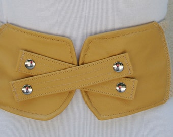 Yellow Leather Belt with Natural Woven Fabric and Criss-Cross Closure