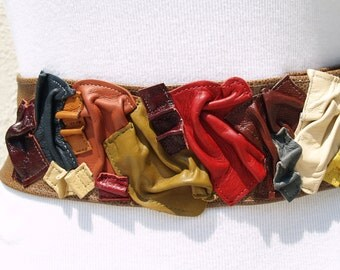 Brown Speckled Leather Belt with Colorful Scrunched Leather Squares