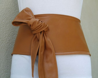 Caramel Tan Butterscotch Leather Belt with Sassy Side Sash