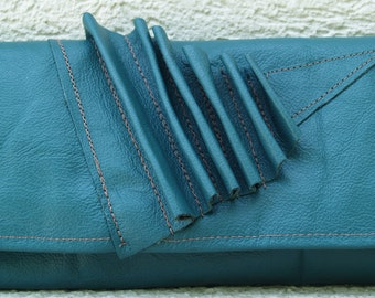 Teal Turquoise and Wristlet with Geo Leather Accent