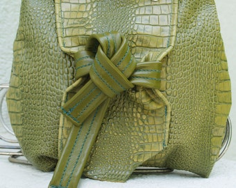 Green Leather Croc Wristlet with Green Leather Knot and Metal Snaps