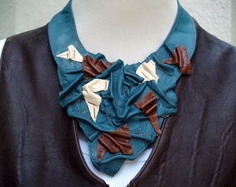 Teal, Brown and Cream Leather Bib - Triangle Waves