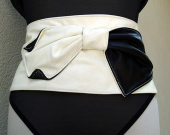 Black and White Tuxedo Leather Belt