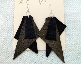 Black Bronze Croc Leather Dangle Earrings