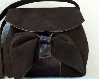 Vegan Chocolate Brown and Mocha Brown Ultra Suede Hobo Shoulderbag with Brown Leather Like Accent