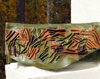 Green Distressed Leather Clutch Handbag with Scrunched and Sculpted Leather Accent with Natural Raw Edge