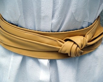 Desert Sand Yellow Leather Belt with Side Knot